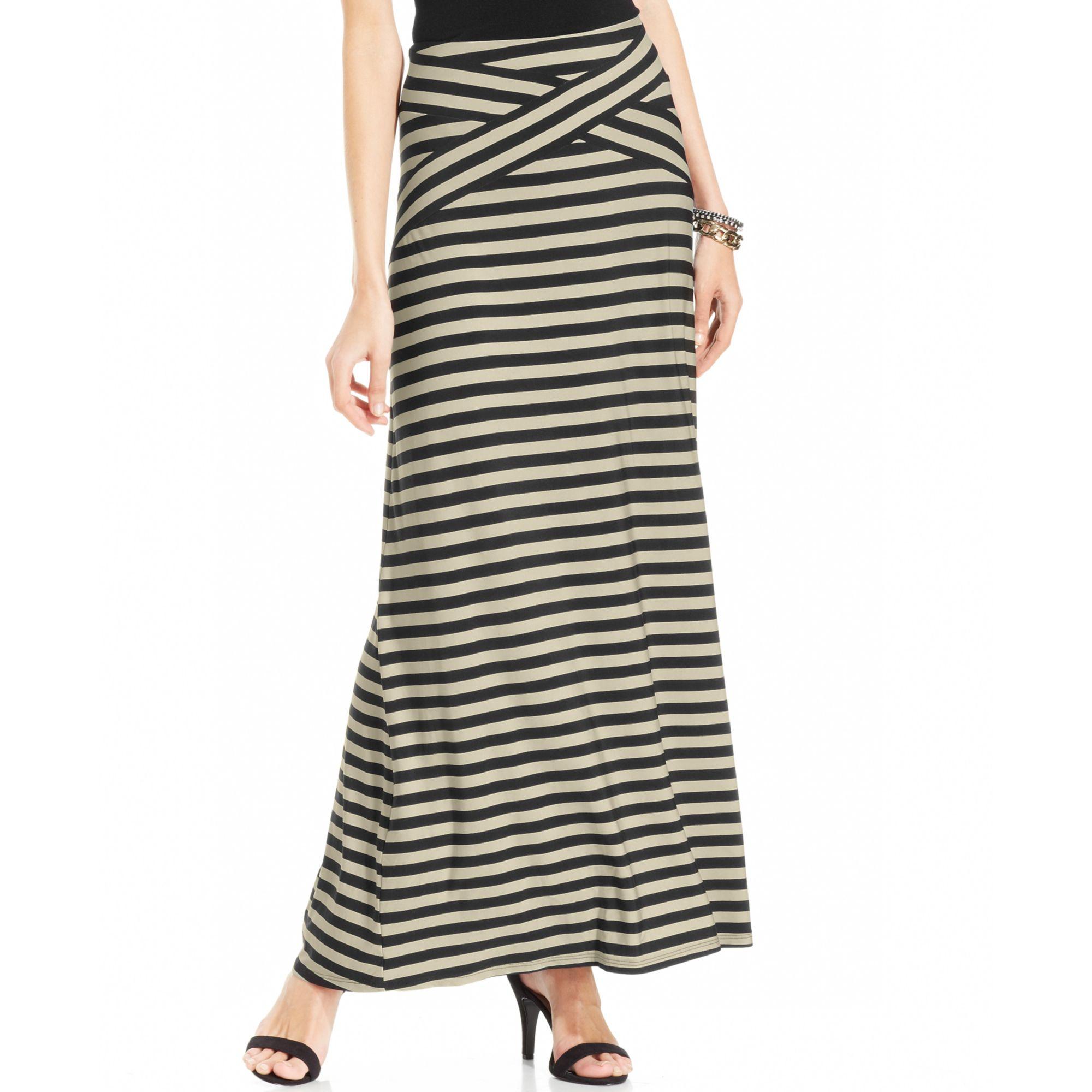 eci striped maxi skirt in black black lyst