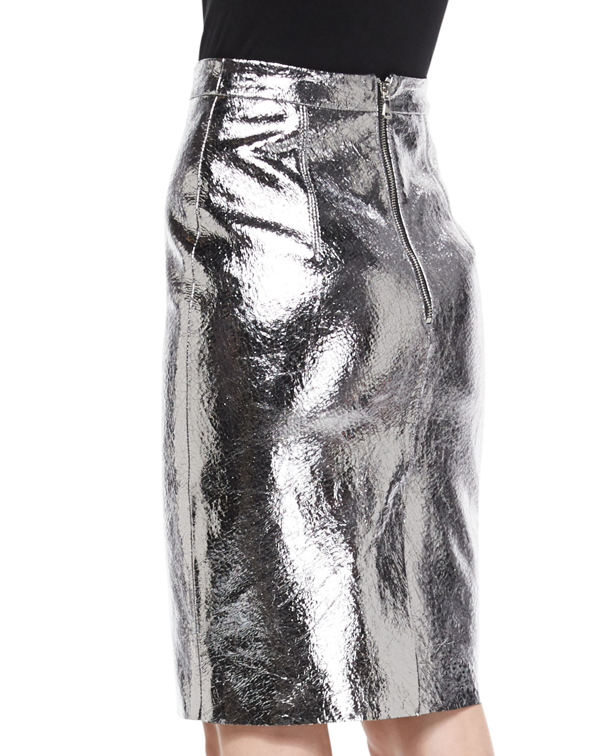 d15cea00834 Lyst - MILLY Metallic Leather Pencil Skirt in Metallic