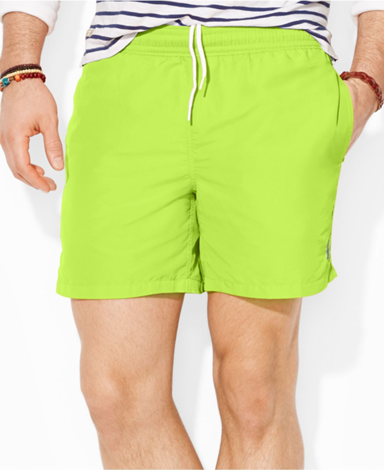 Product Features Tommy Hilfiger big and tall swim trunks for men featuring bold color.