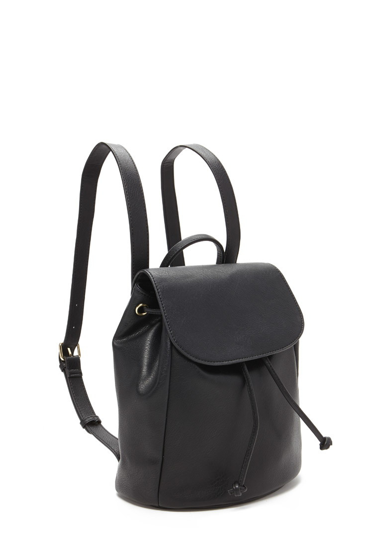 Forever 21 Faux Leather Backpack in Black | Lyst