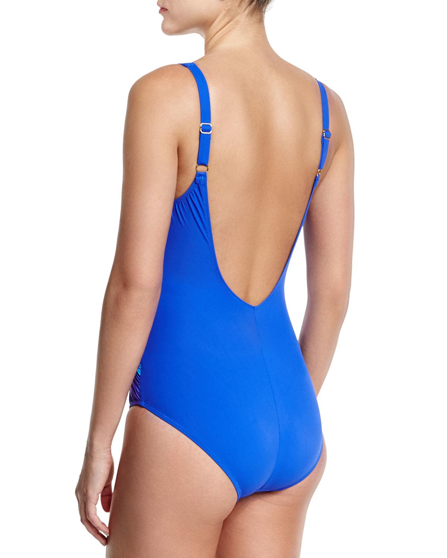 9b59968f616 Lyst - Gottex Pixel-print Ombre Square-neck Swimsuit