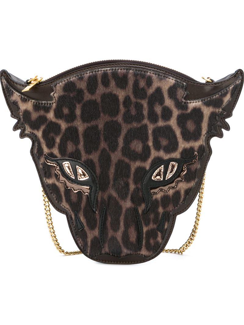 c38bbd8851 Stella McCartney Wild Cat Crossbody Bag in Brown - Lyst