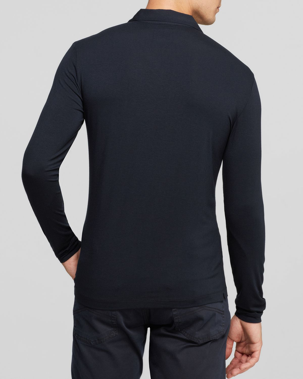 Lyst armani long sleeve polo in blue for men for Shirts for men with long arms