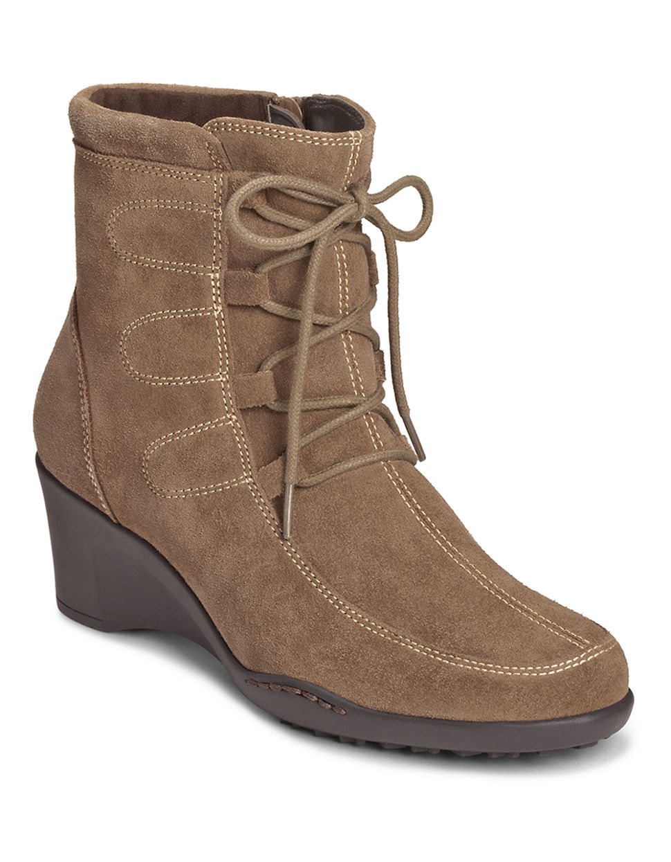 aerosoles tor guide suede wedge boots in lyst