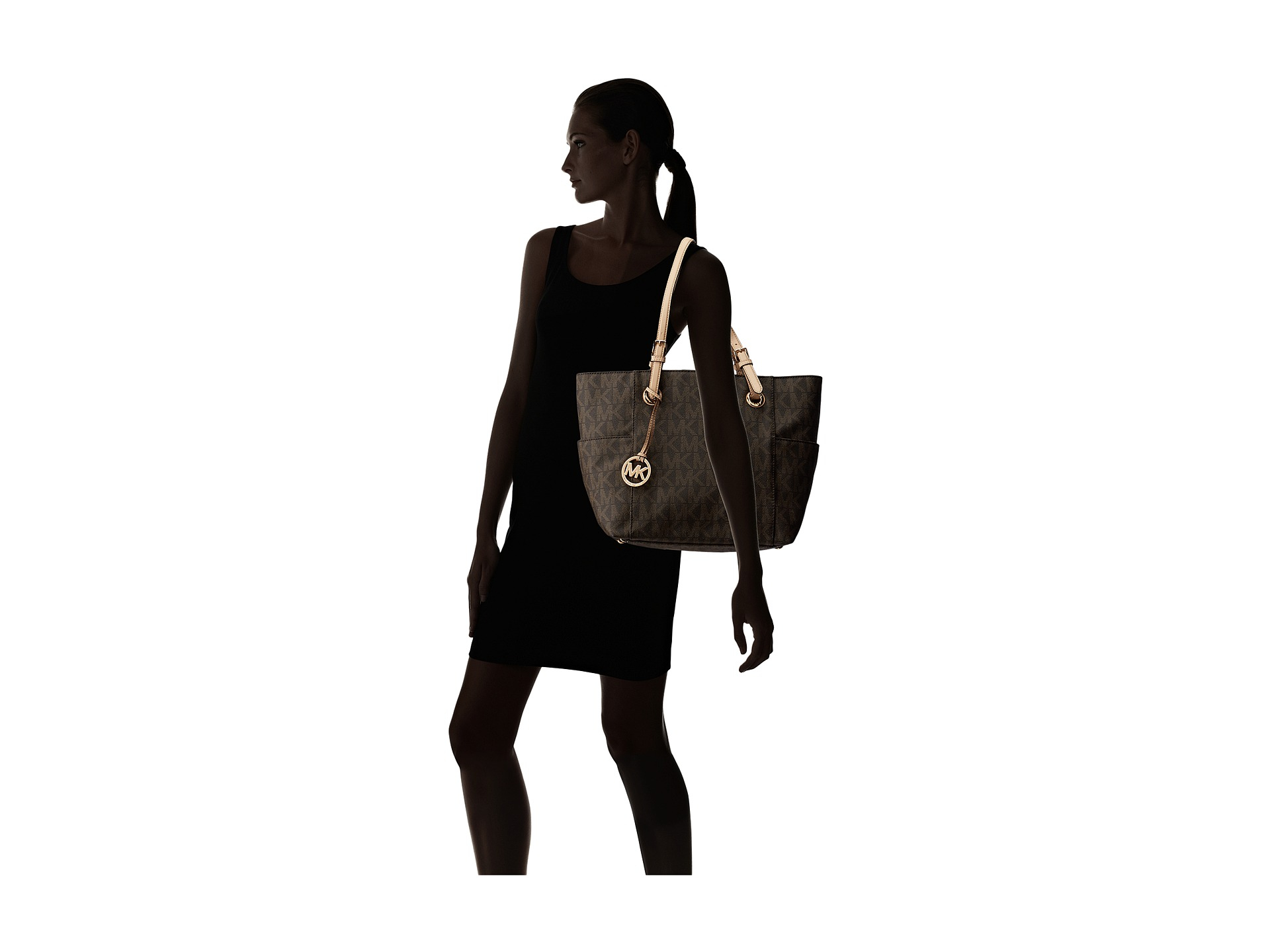2e32f53d5a674b MICHAEL Michael Kors Mk Logo East/west Signature Tote in Brown - Lyst