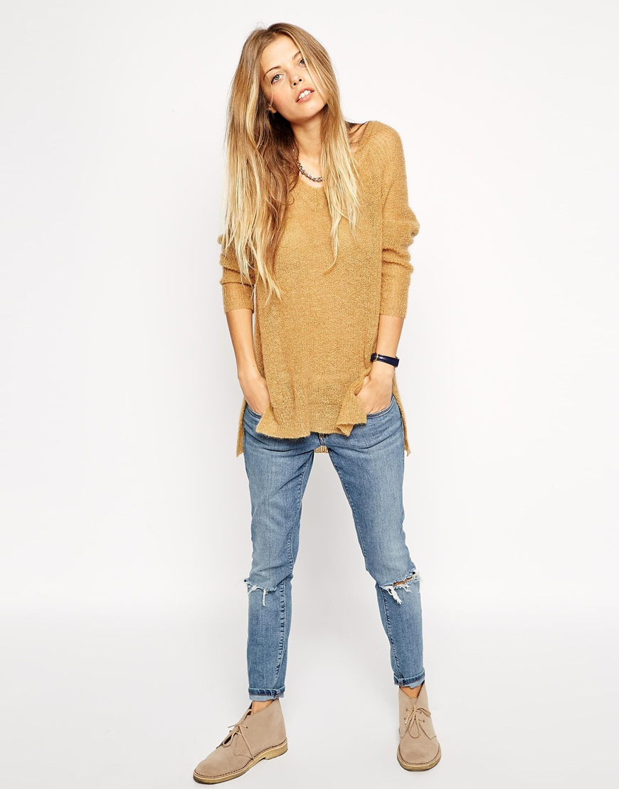 lyst asos slouch jumper with vneck in mohair in metallic