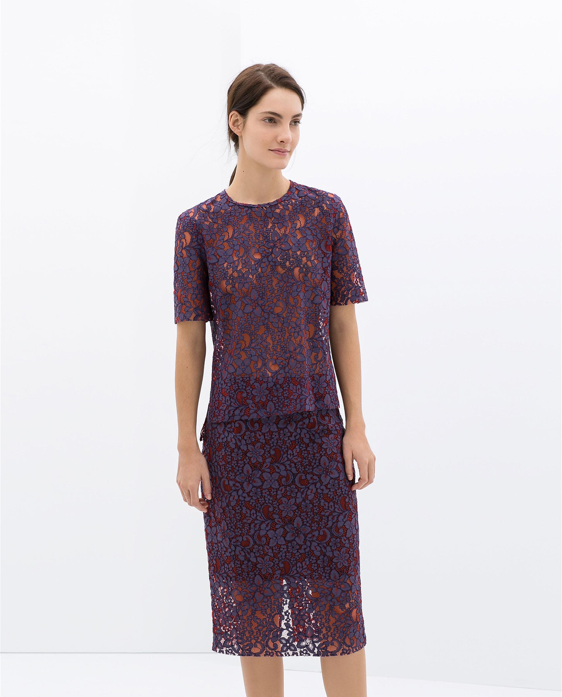 Zara Lace Pencil Skirt in Purple   Lyst
