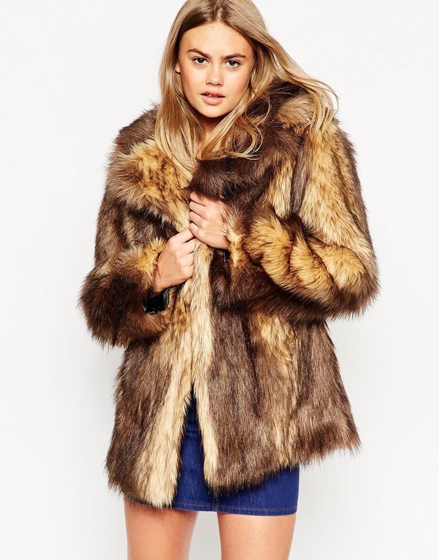 Asos Vintage Faux Fur Coat in Brown | Lyst