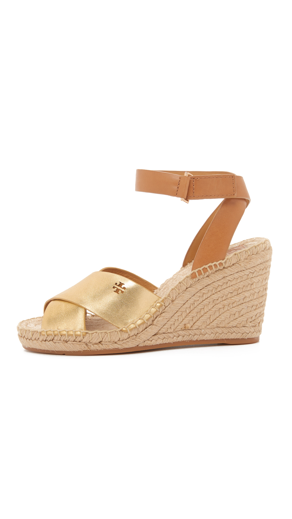 Lyst Tory Burch Bima Metallic Wedge Espadrilles In Brown