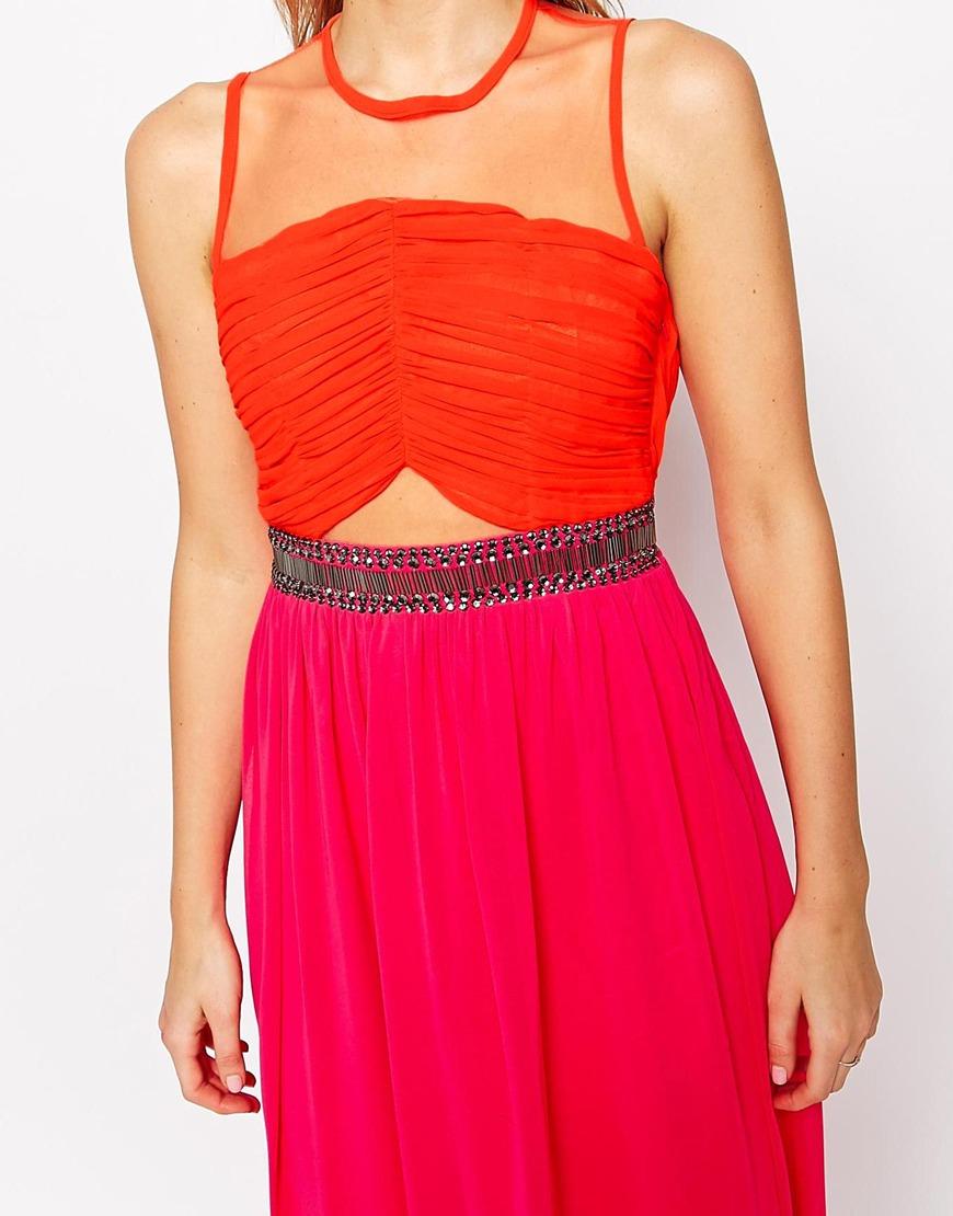Color block maxi dresses orange