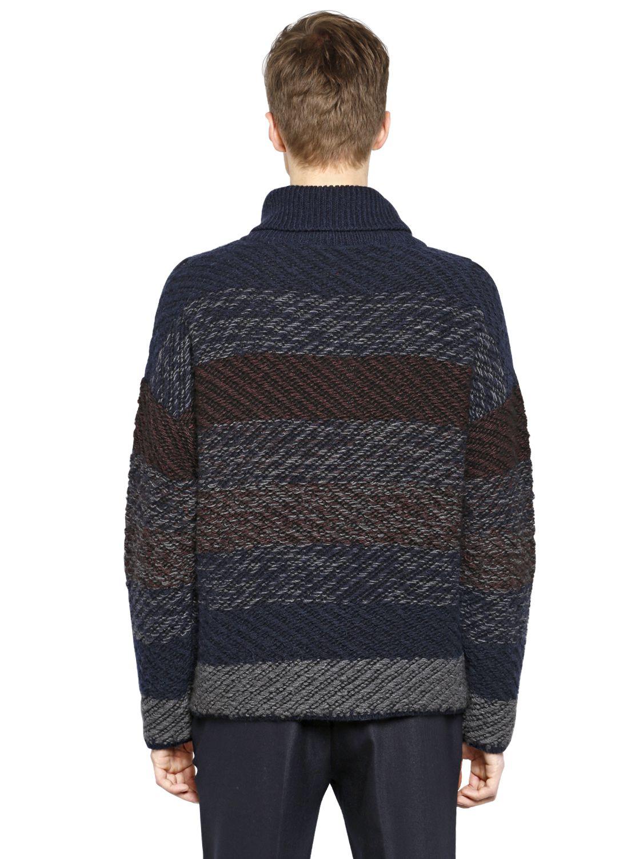 Antonio Marras Turtleneck Wool Blend Jacquard Sweater in Navy (Blue) for Men