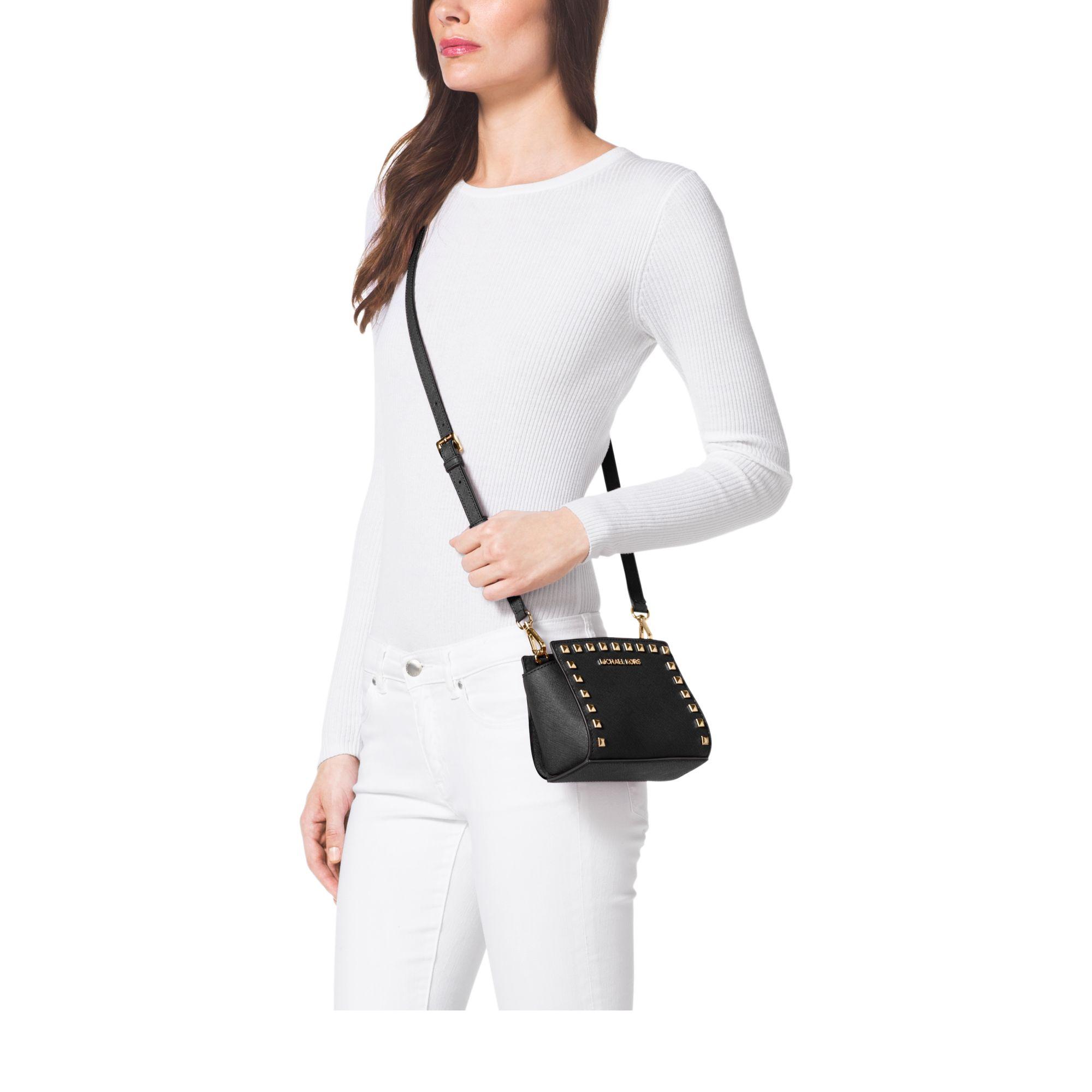 1625499c6b Lyst - Michael Kors Selma Mini Studded Leather Crossbody in Black