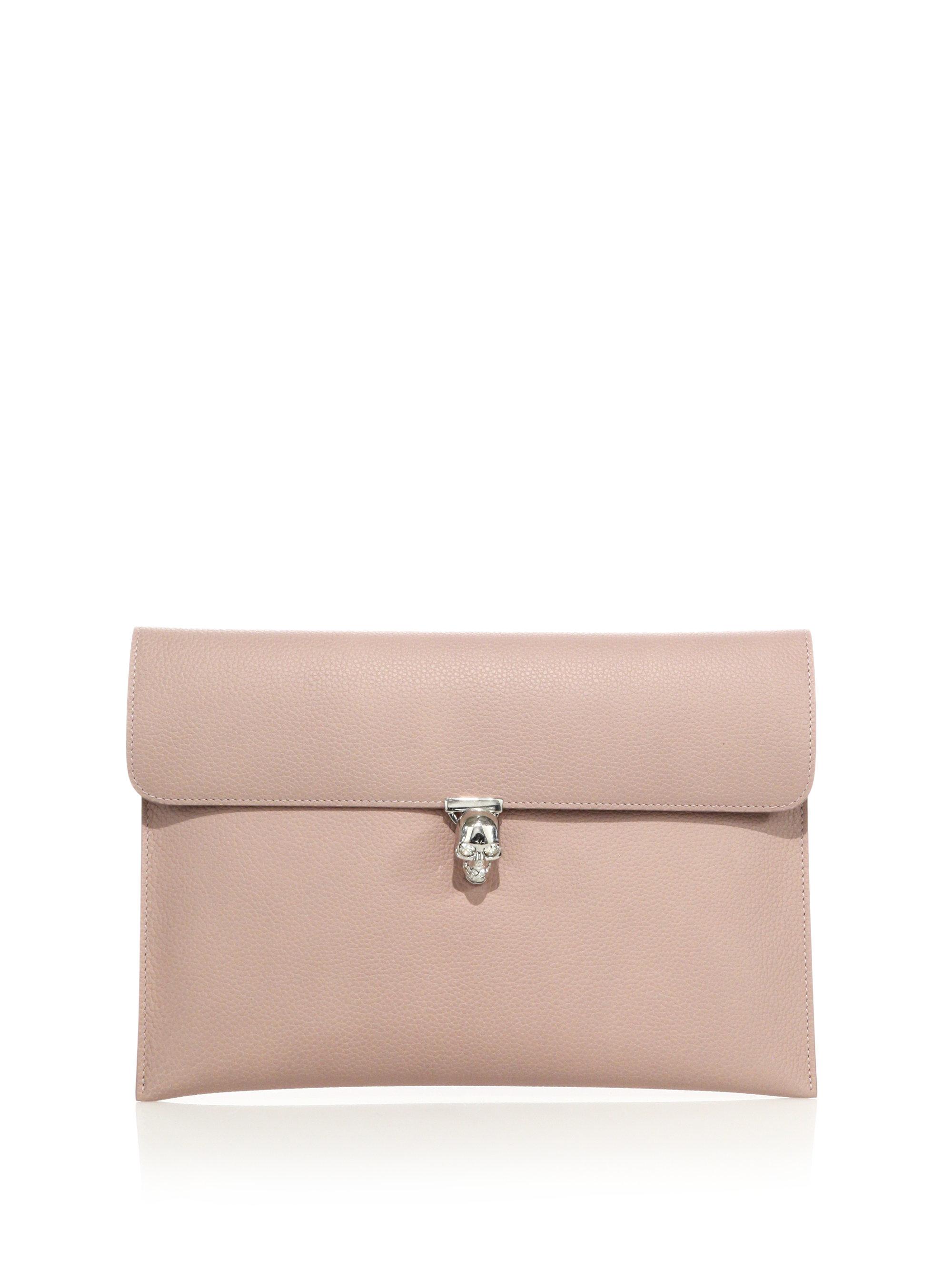 Alexander mcqueen Leather Skull Envelope Clutch in Pink | Lyst