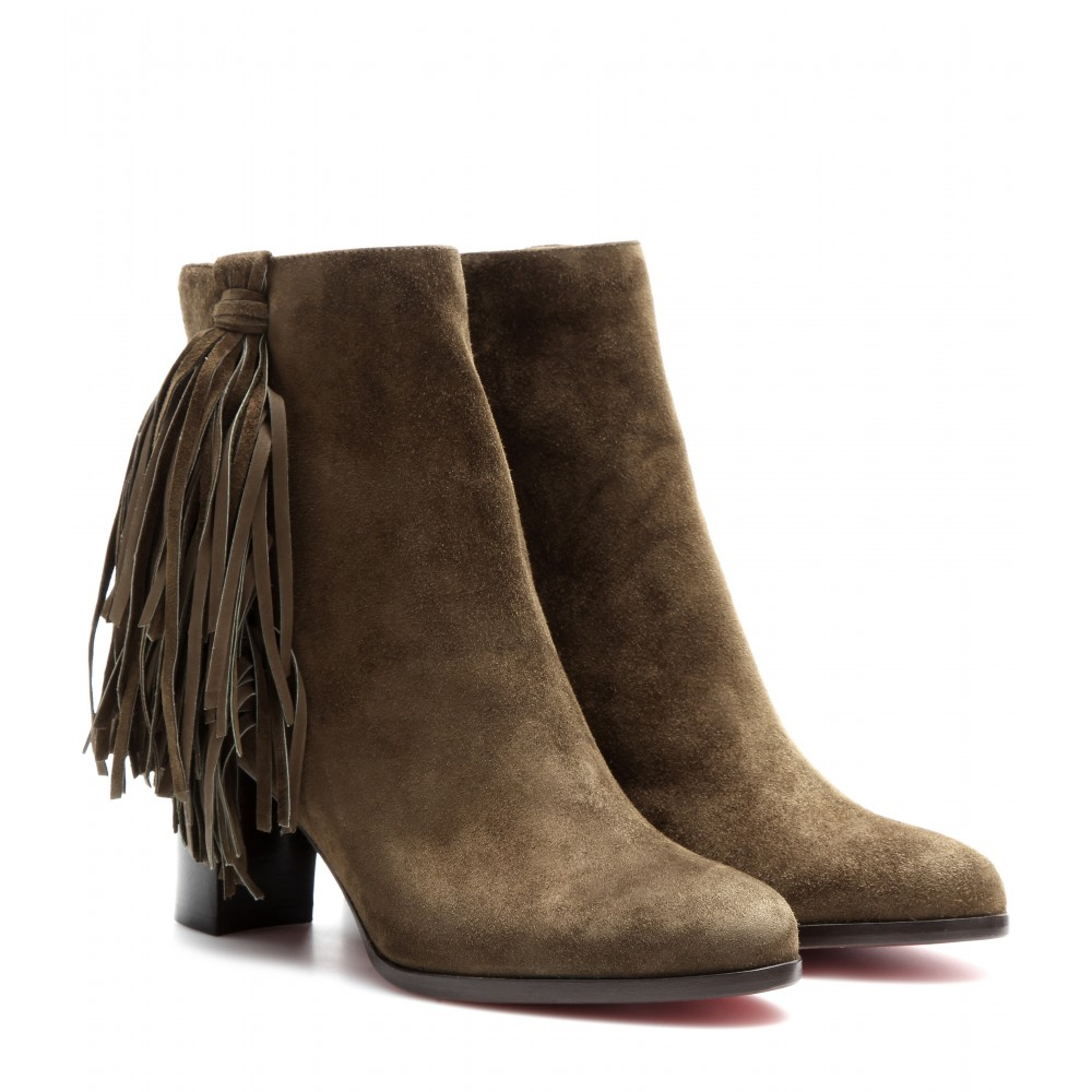 white louis vuitton loafers - Christian louboutin Jimmynetta 70 Fringed Suede Ankle Boots in ...