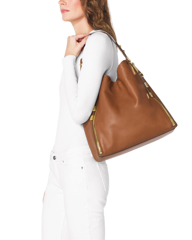 Michael Kors Signature Handbags On Large Miranda Zipper Shoulder Bag