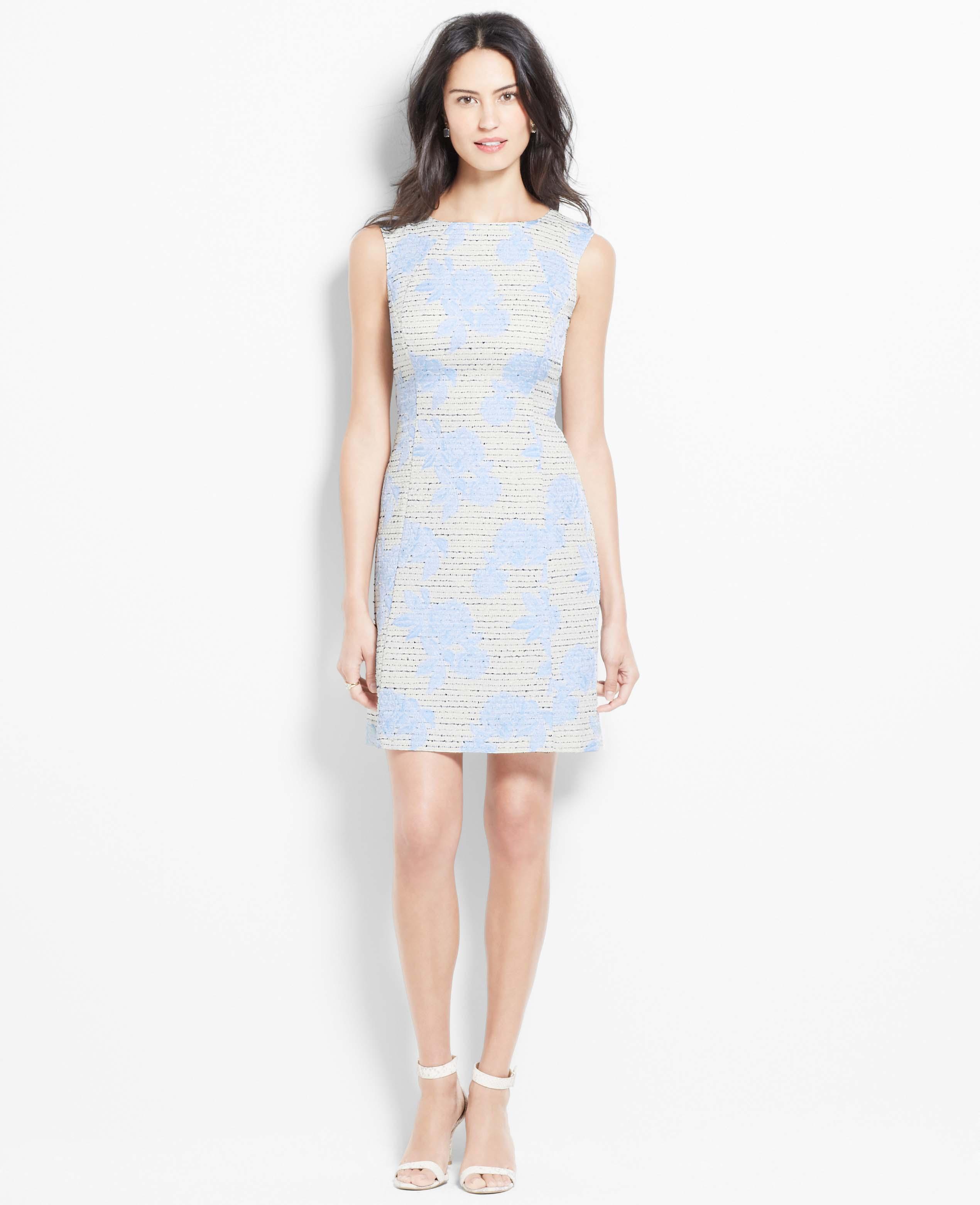 Ann Taylor Floral Jacquard Cap Sleeve Dress In Blue Azure