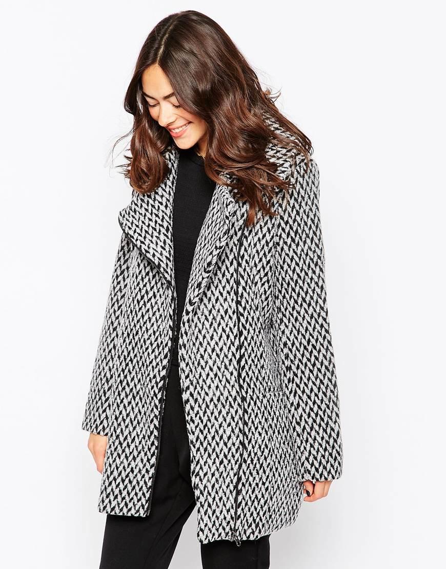 Ichi Wool Mix Coat in Black | Lyst