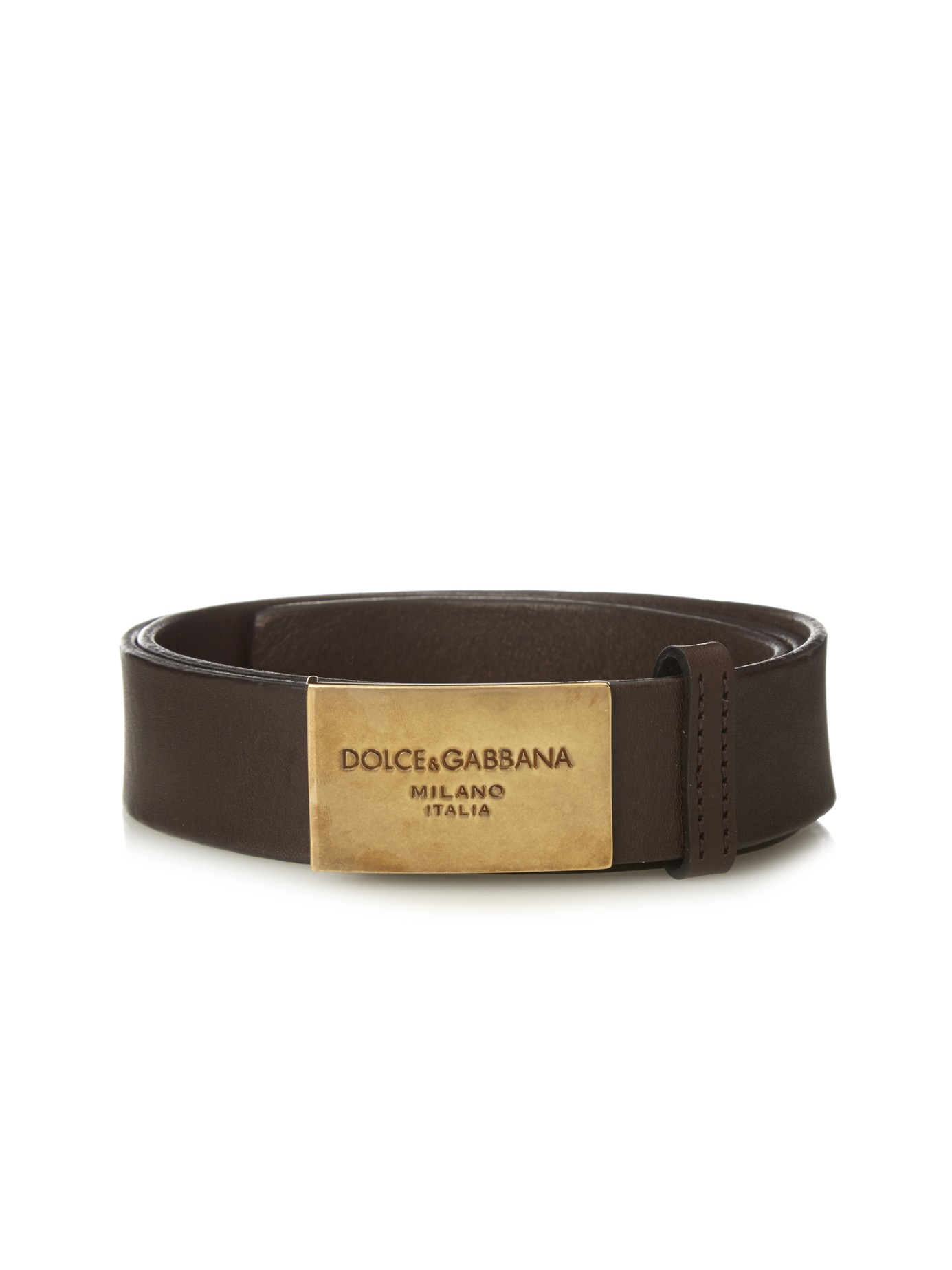 Lyst Dolce Amp Gabbana Logo Buckle Leather Belt In Brown