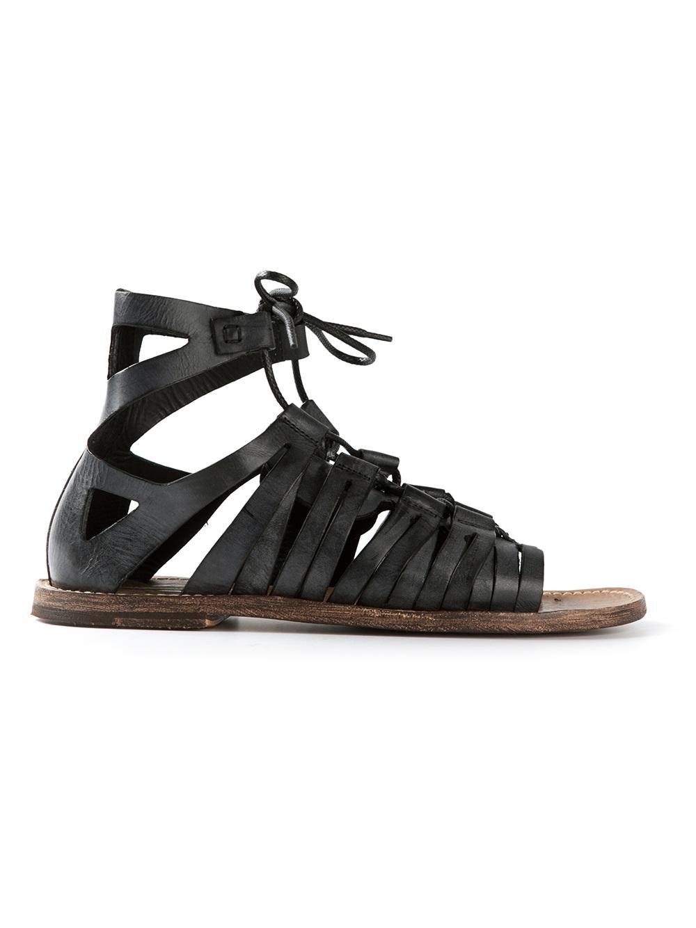 Dolce Amp Gabbana Gladiator Sandals In Grey Black For Men