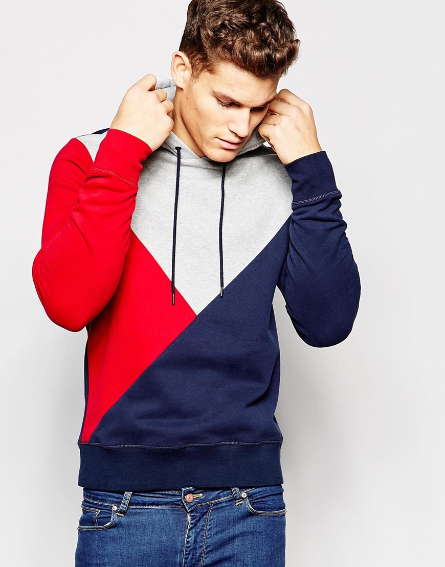 lyst tommy hilfiger hoodie with block colour in blue for men. Black Bedroom Furniture Sets. Home Design Ideas