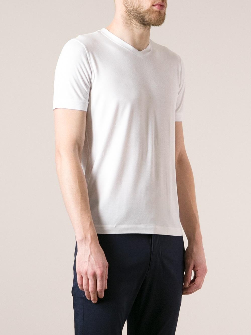 Giorgio Armani Bamboo Vneck Tshirt In White For Men Lyst
