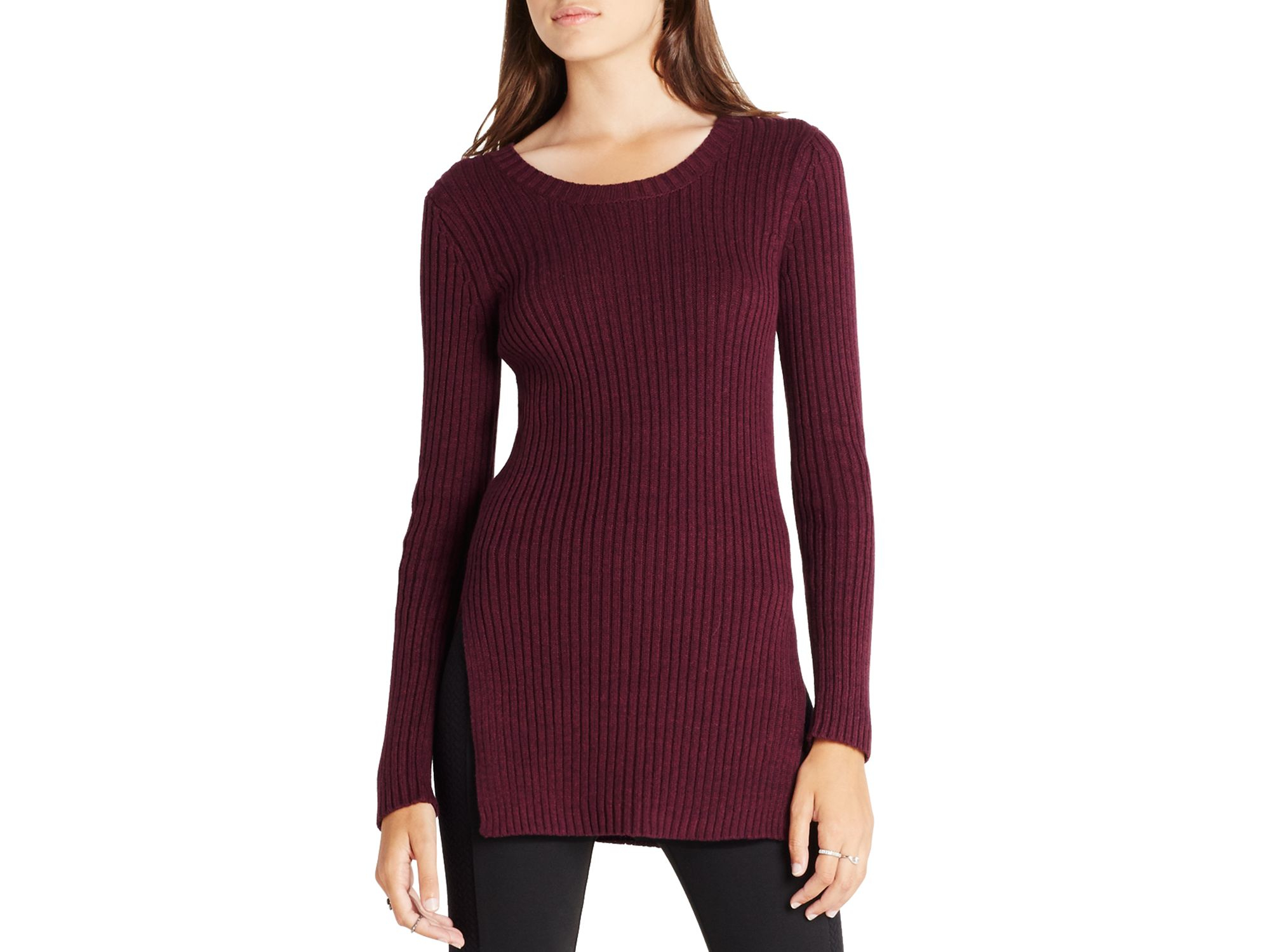 Bcbgeneration Side Split Tunic Sweater in Purple | Lyst
