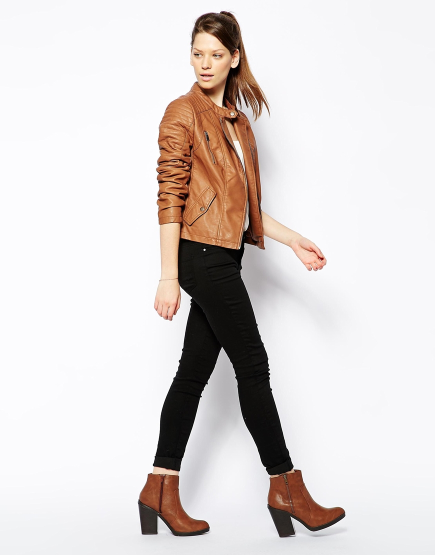 Oasis Sophie Faux Leather Biker Jacket in Brown | Lyst