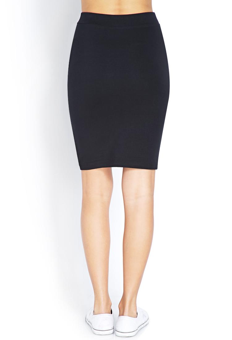 Forever 21 Knee-Length Bodycon Skirt in Black | Lyst