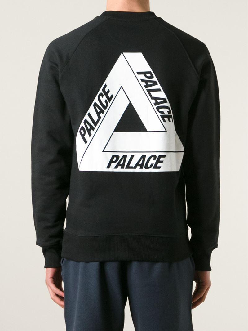 Palace Back Print Sweatshirt In Black For Men Lyst