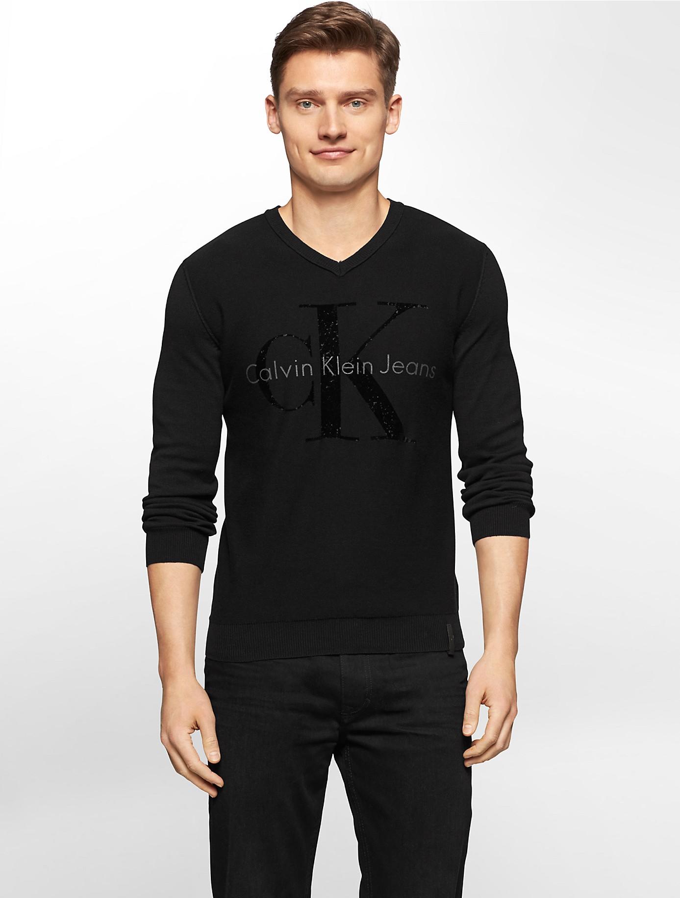 calvin klein jeans flock print logo crewneck sweater in. Black Bedroom Furniture Sets. Home Design Ideas