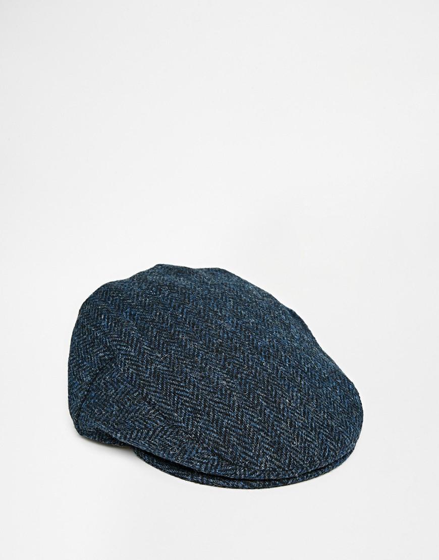 82b15ca6c1 ASOS Flat Cap In Blue Harris Tweed for men