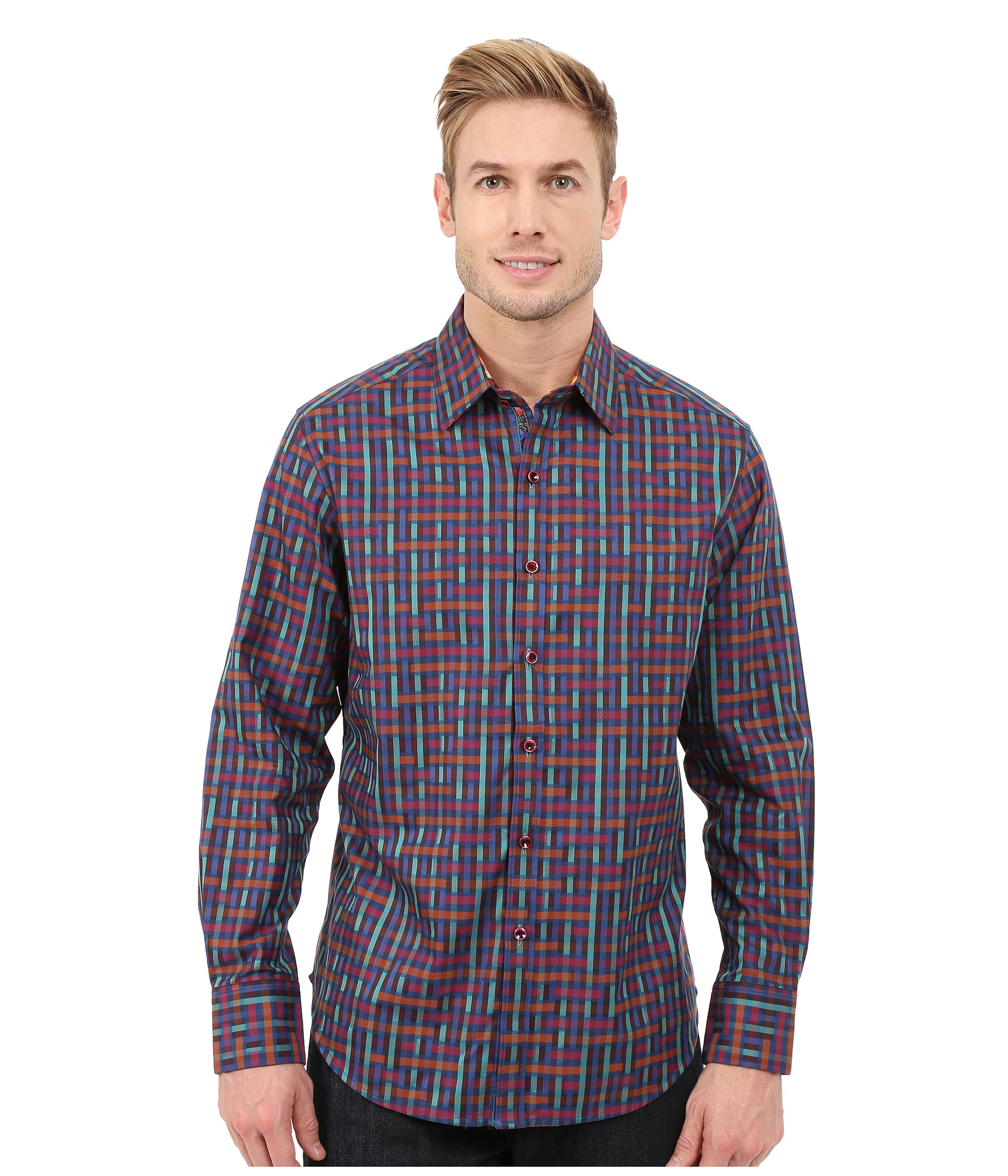 Robert graham misfits long sleeve woven shirt for men lyst for Where are robert graham shirts made