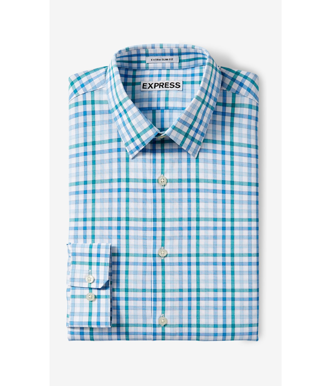 Lyst express slim check dress shirt blue in metallic for Blue check dress shirt