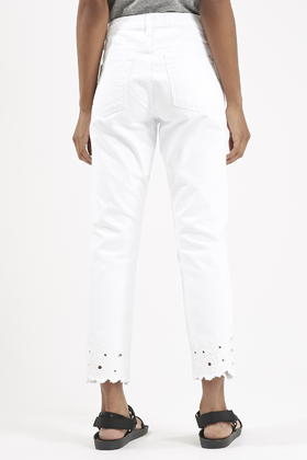 Topshop Moto Floral Cut-work Girlfriend Jeans in White | Lyst