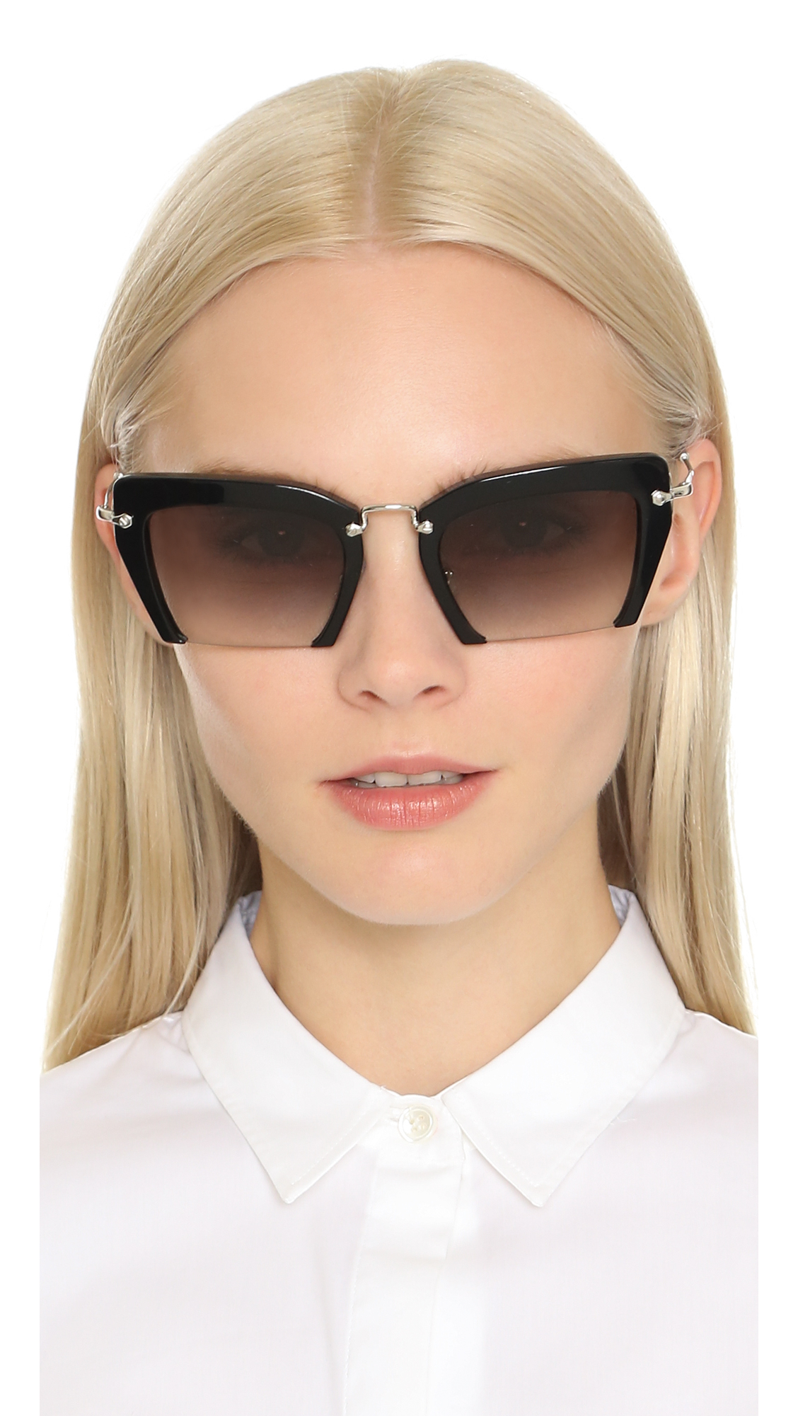 Lyst Miu Miu Cut Frame Sunglasses Black Grey Gradient
