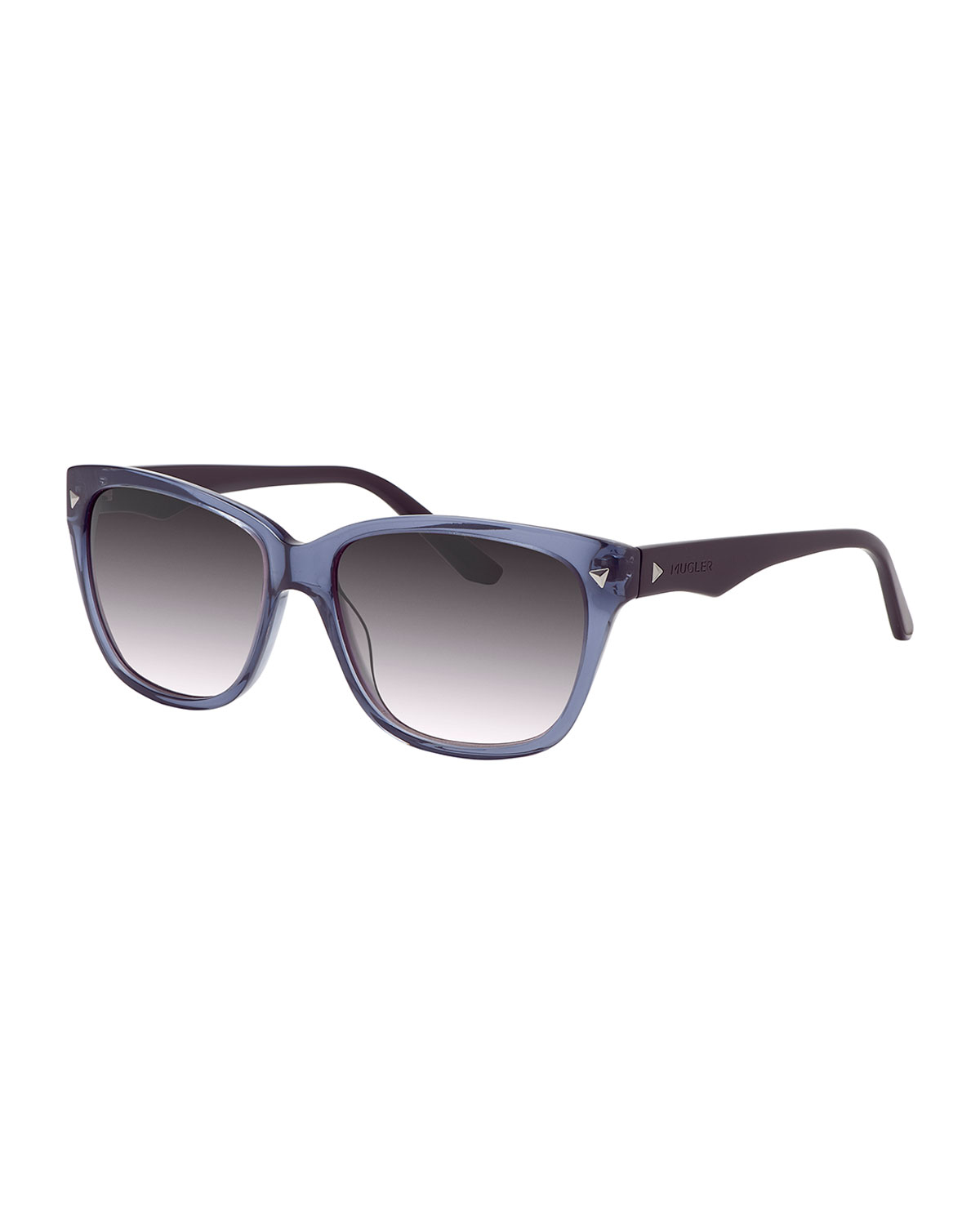 4c731ac89231d Thierry Mugler Studded Two-tone Square Plastic Sunglasses in Blue - Lyst