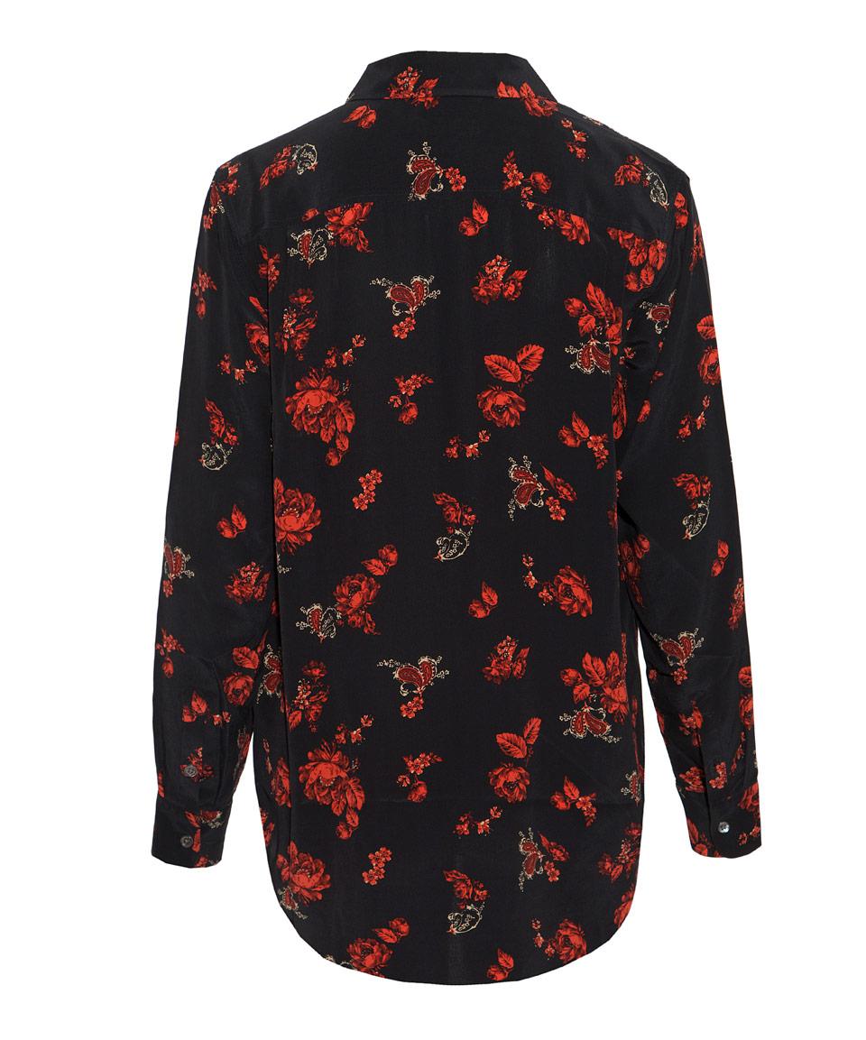 Lyst equipment black reese floral print silk shirt in black for Equipment black silk shirt