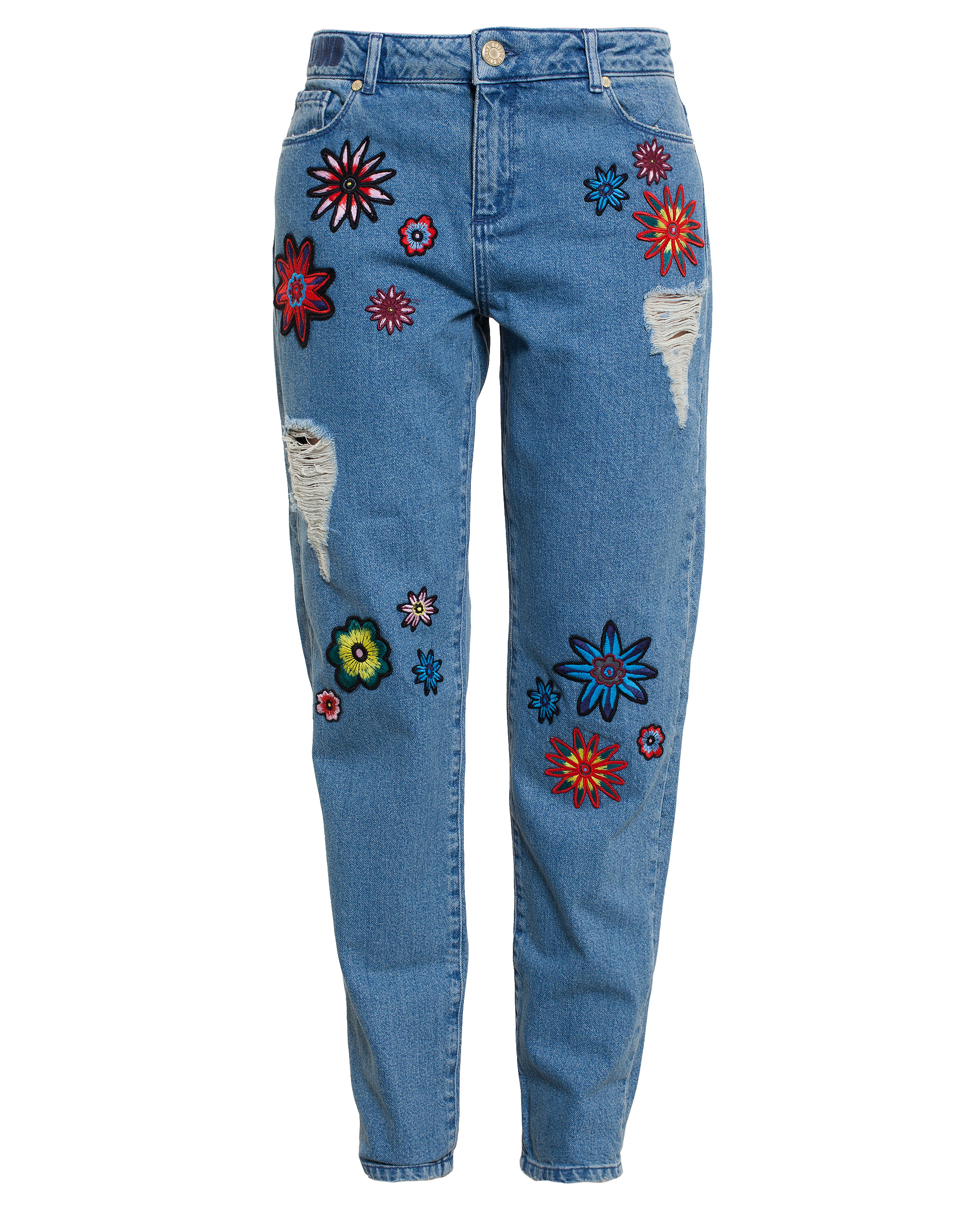 House of holland jeans with floral embroidery in blue lyst House jeansy