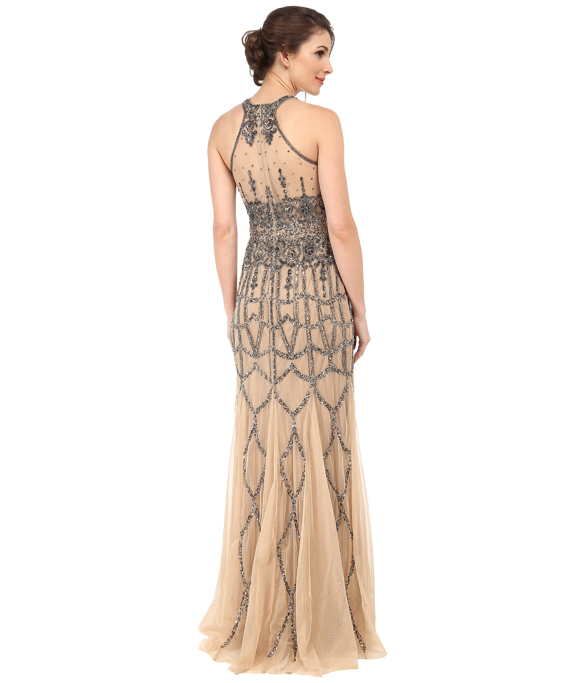Lyst - Adrianna Papell Sleeveless Fully Beaded Gown in Natural