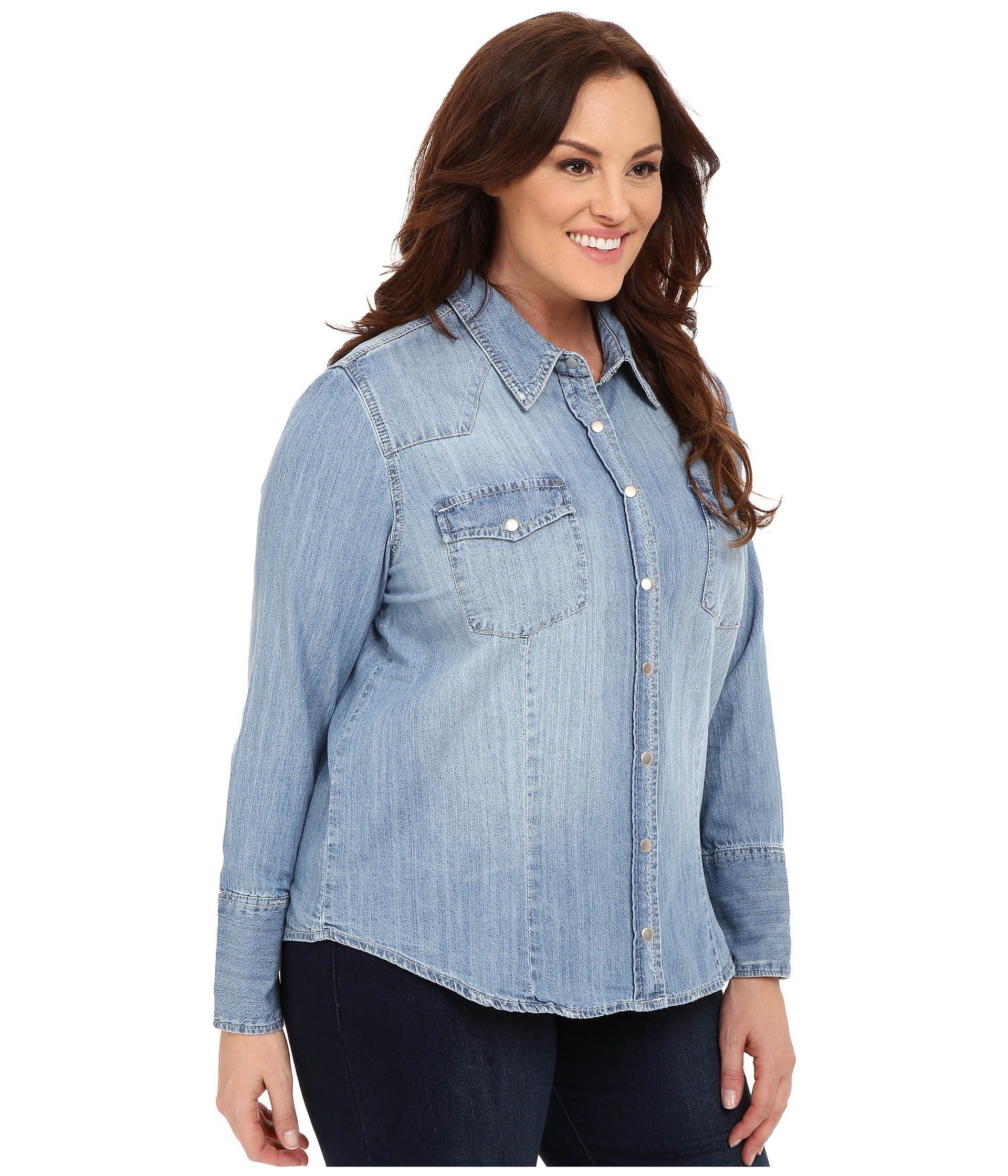 Stetson Light Blue Denim Long Sleeve Western Shirt in Blue | Lyst