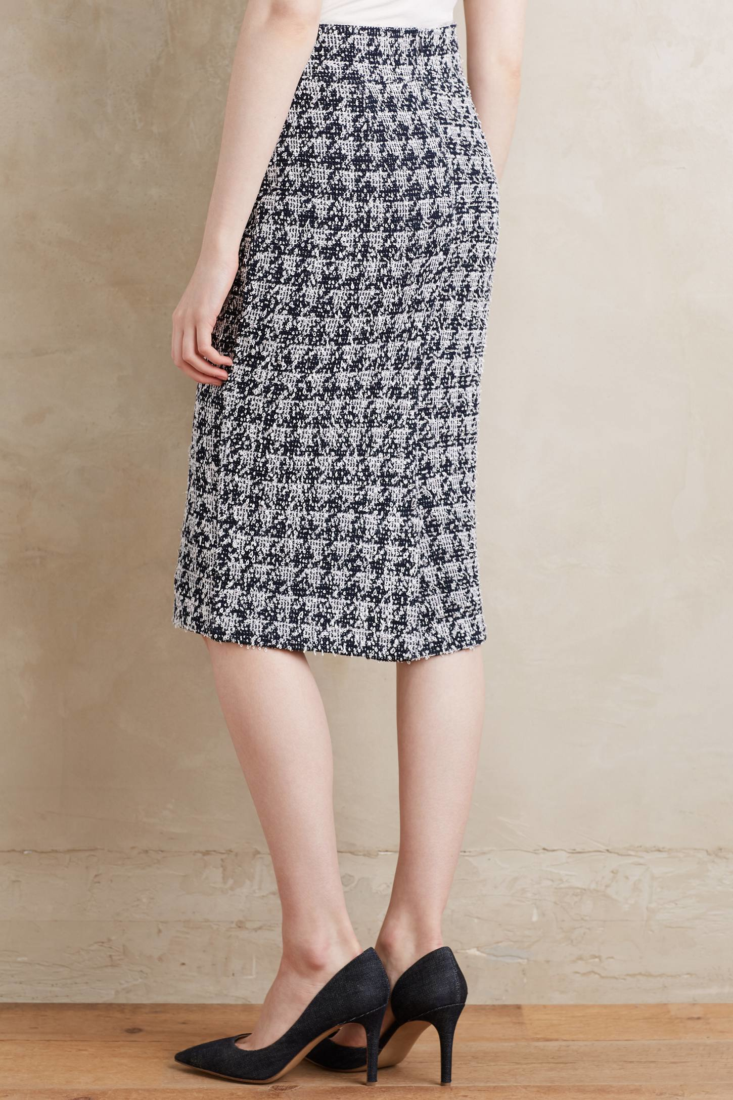 paper crown checkered knit pencil skirt in black lyst