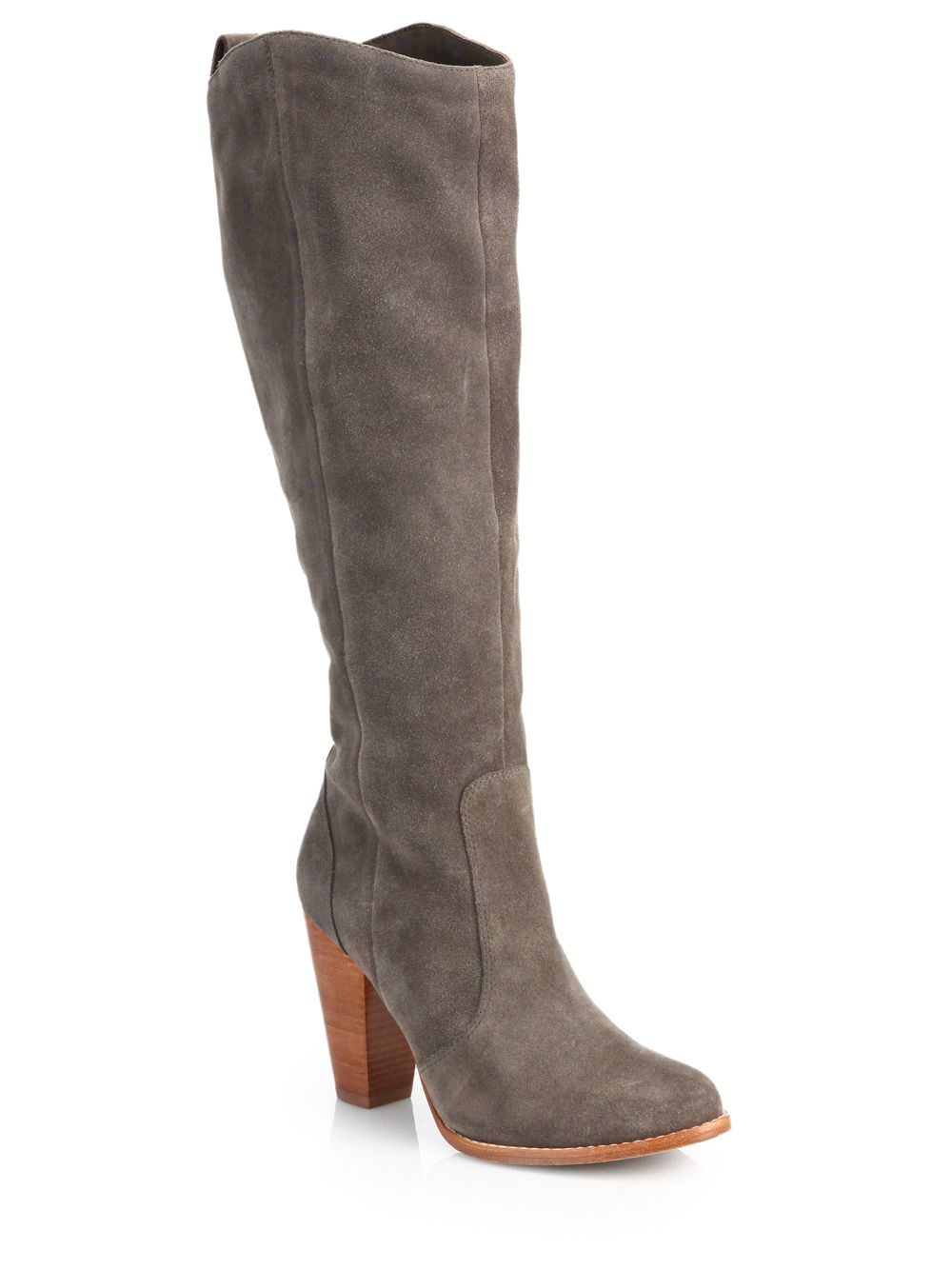 joie dagny suede knee high boots in gray lyst