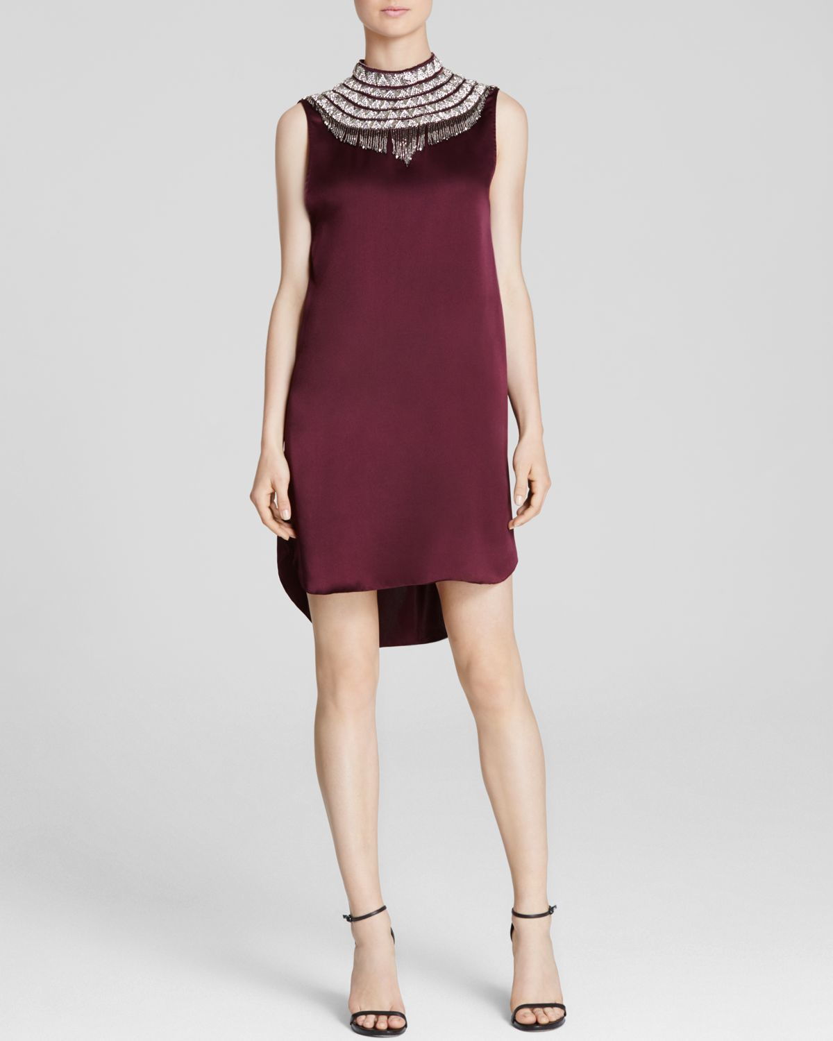 Haute hippie embellished neck dress in red fig lyst for To have and to haute dress