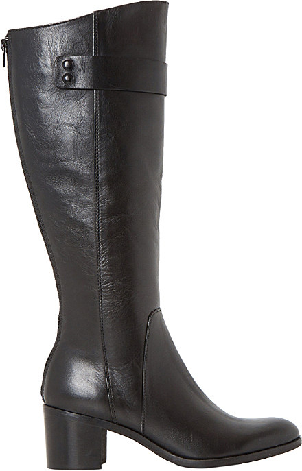 dune black tommie leather knee high boots in black lyst