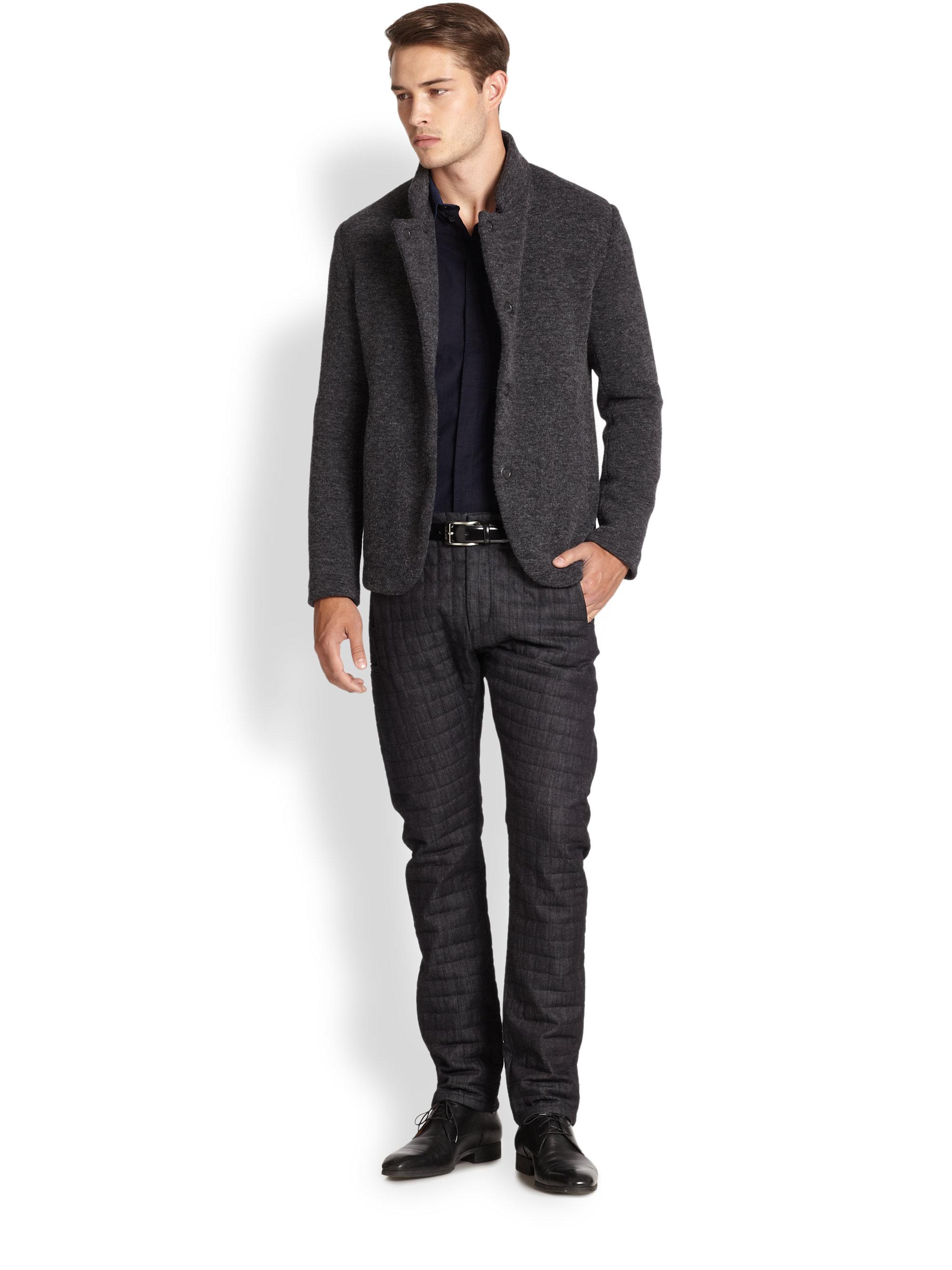 Armani Jersey Guru Jacket In Charcoal Gray For Men Lyst