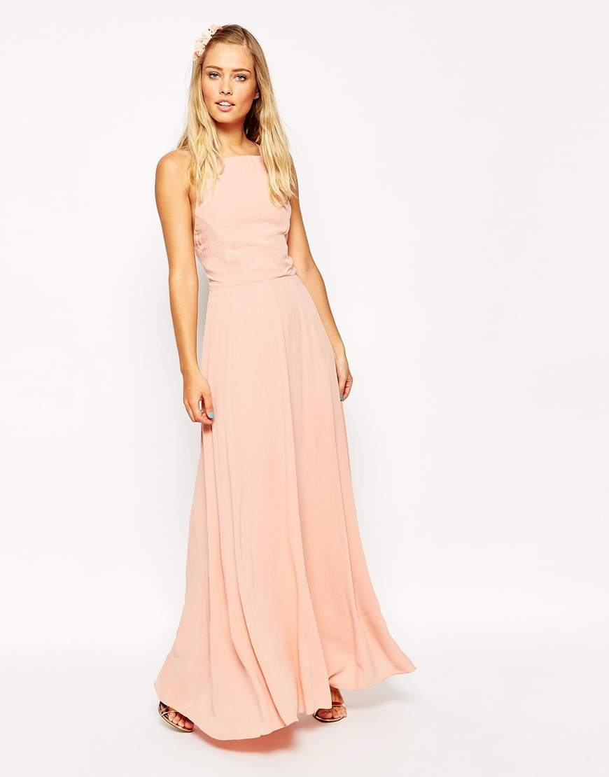 asos maxi dress with tie back in pink lyst. Black Bedroom Furniture Sets. Home Design Ideas
