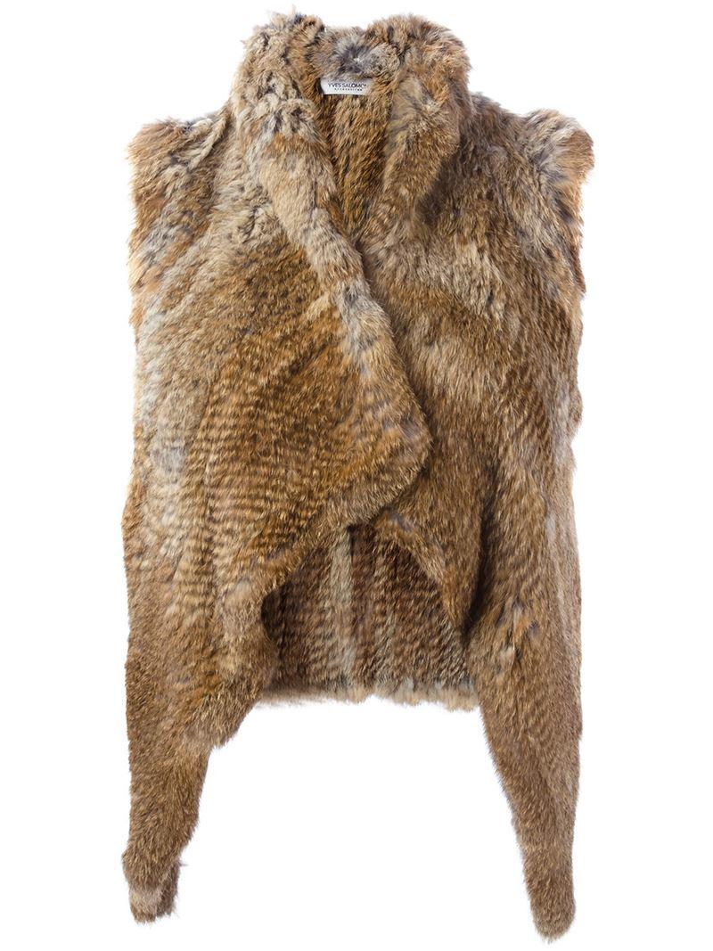 Yves Salomon Rabbit Fur Vest In Brown Lyst