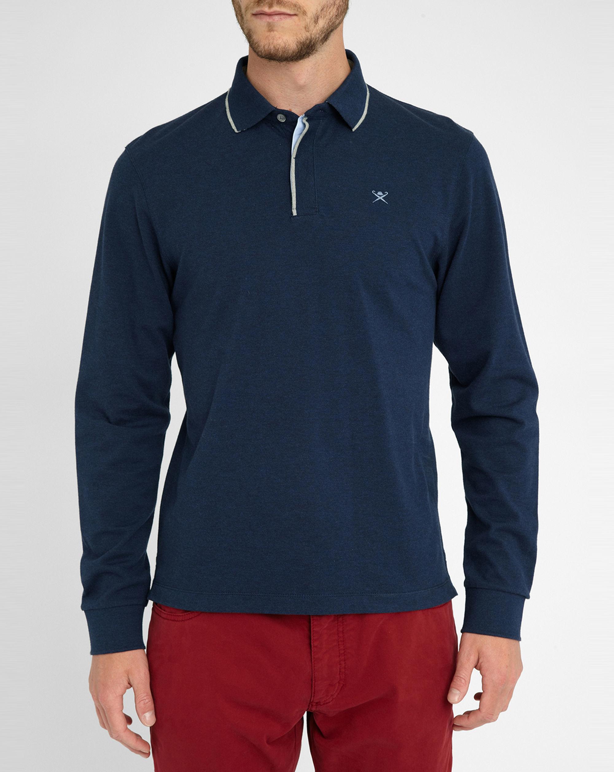 Hackett Navy Contrasting Collar Chest Logo Long Sleeve