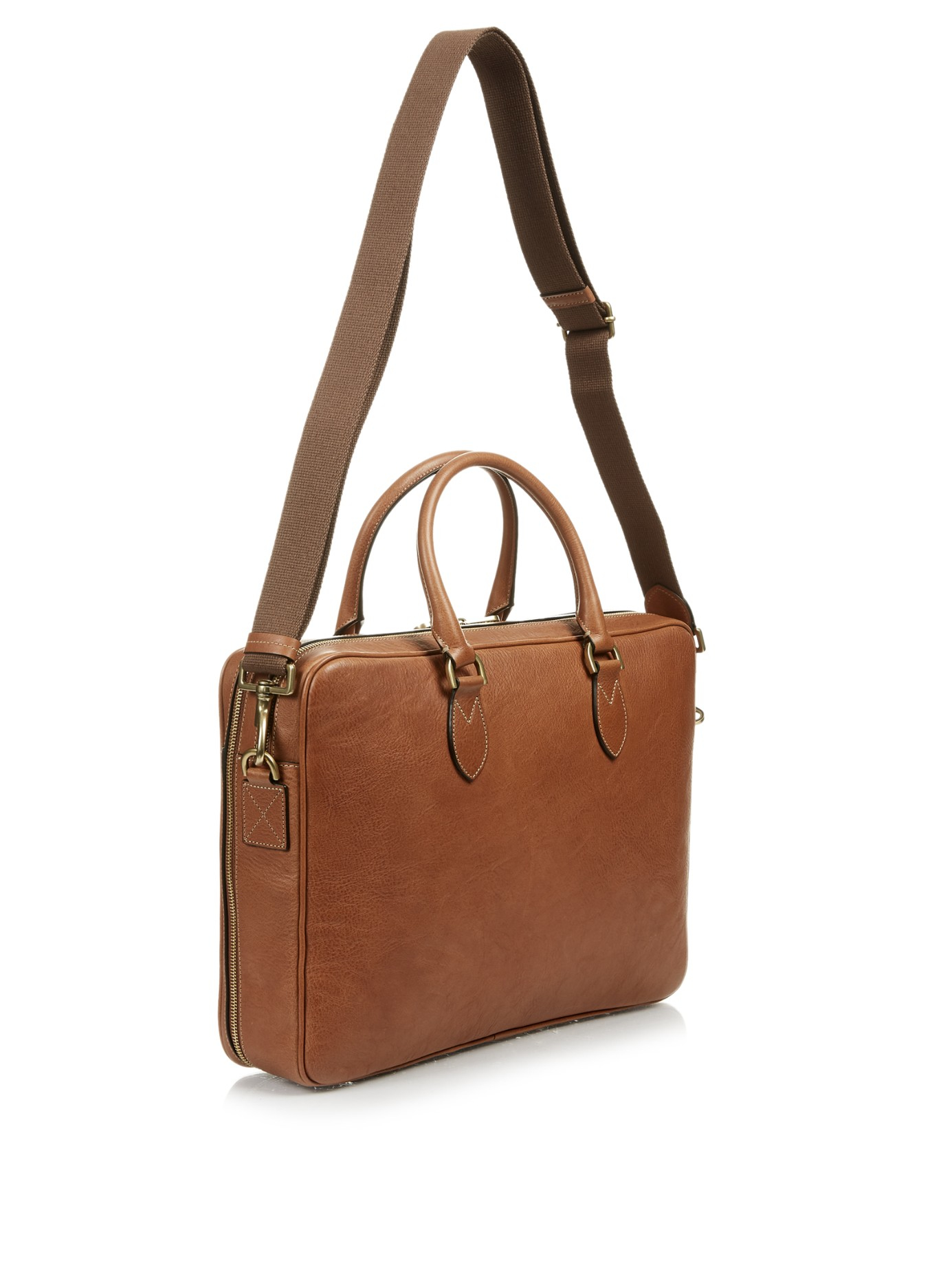 55a2475cf5dc5 Lyst - Mulberry Heathcliffe Grained-leather Briefcase in Brown for Men
