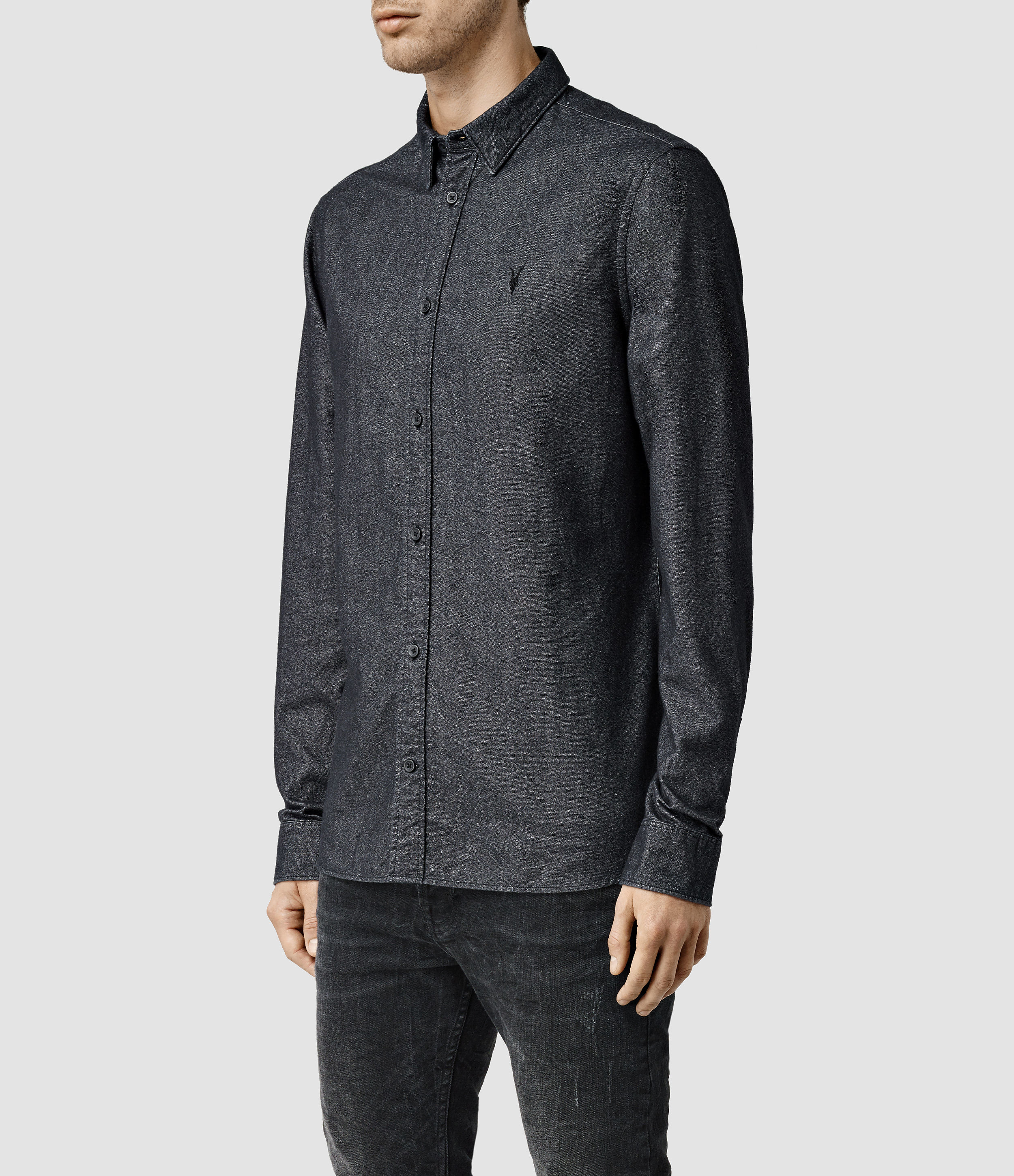 Allsaints Foundry Shirt Usa Usa In Gray For Men Lyst
